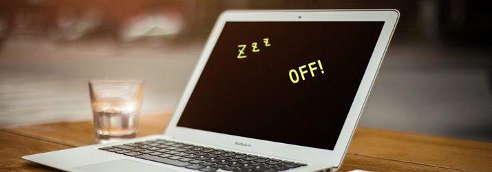 席を長時間離れる時は、パソコンをスリープに